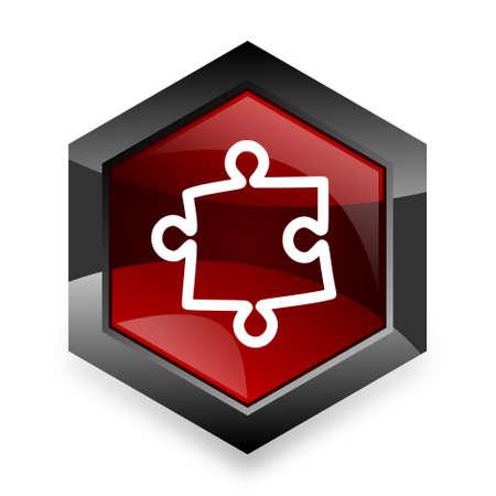 plugin: puzzle red hexagon 3d modern design icon on white background