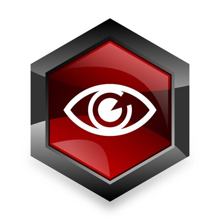 eye 3d: eye red hexagon 3d modern design icon on white background