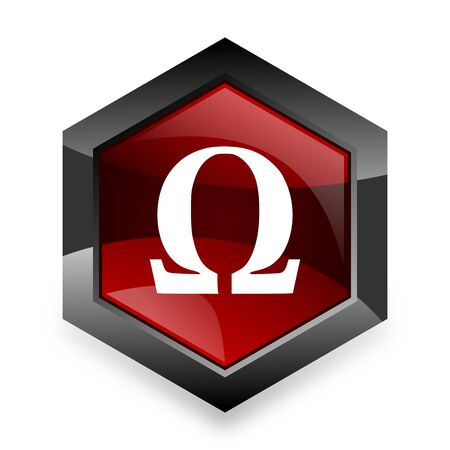 omega red hexagon 3d modern design icon on white background
