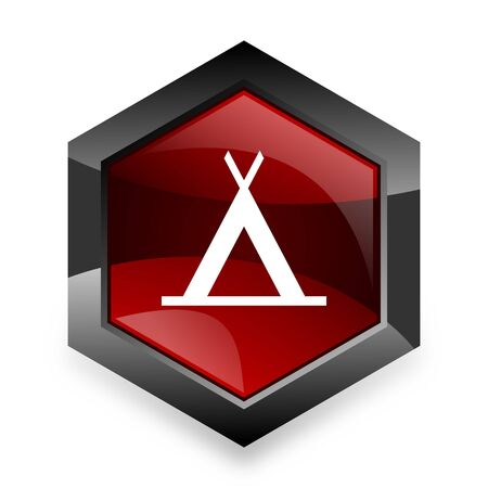 3d bungalow: camp red hexagon 3d modern design icon on white background