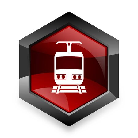 waggon: train red hexagon 3d modern design icon on white background