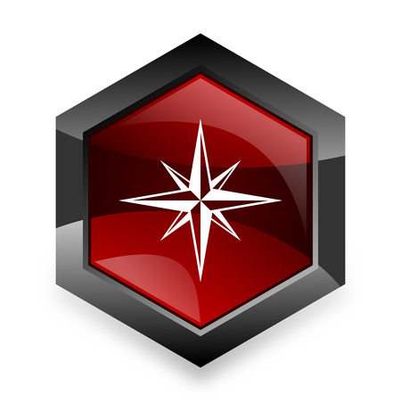 internet explorer: compass red hexagon 3d modern design icon on white background
