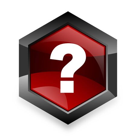 questioning: question mark red hexagon 3d modern design icon on white background