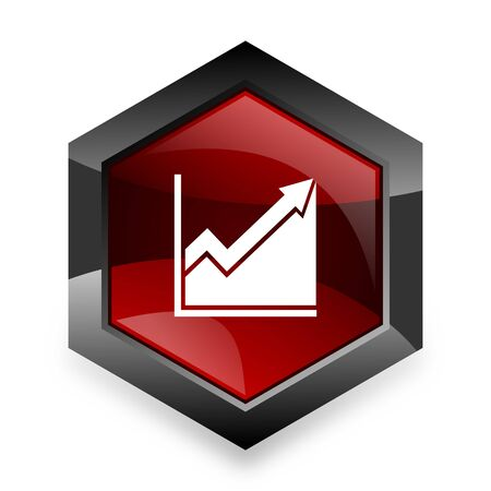 histogram: histogram red hexagon 3d modern design icon on white background