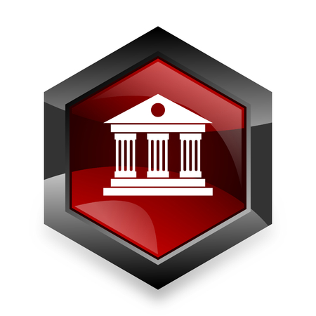 acropolis: museum red hexagon 3d modern design icon on white background
