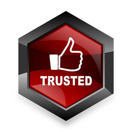 trusted: trusted red hexagon 3d modern design icon on white background