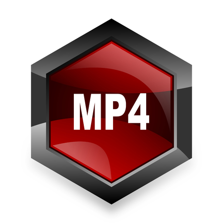 mp4: mp4 red hexagon 3d modern design icon on white background Stock Photo