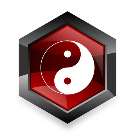 ying and yang: ying yang red hexagon 3d modern design icon on white background Stock Photo