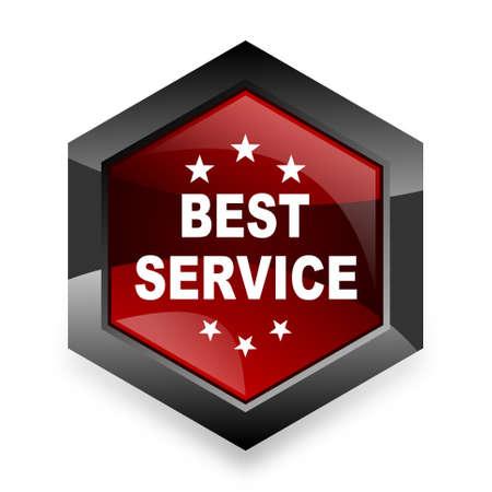 best service: best service red hexagon 3d modern design icon on white background