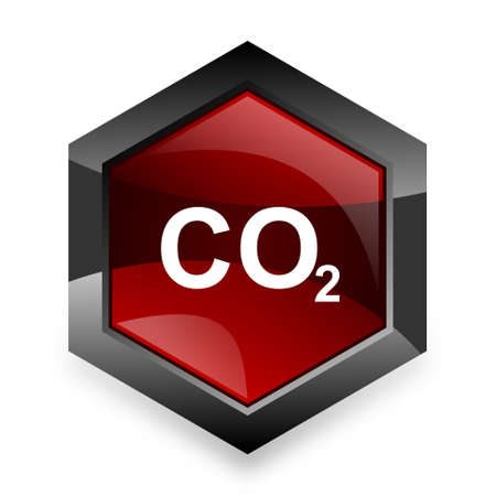 carbon dioxide: carbon dioxide red hexagon 3d modern design icon on white background Stock Photo