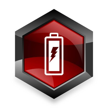 original ecological: battery red hexagon 3d modern design icon on white background