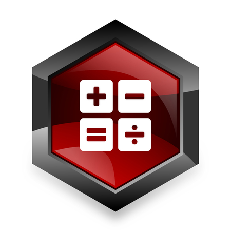 compute: calculator red hexagon 3d modern design icon on white background Stock Photo