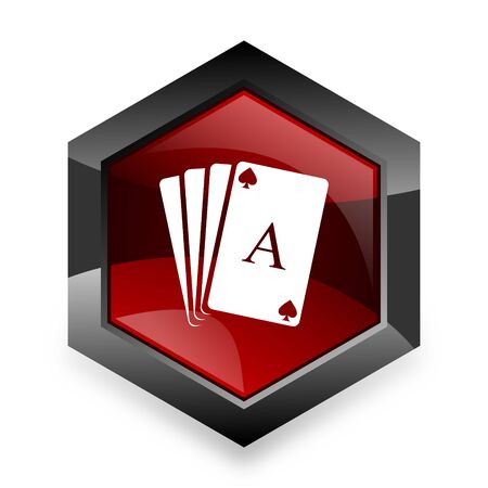 red button: card red hexagon 3d modern design icon on white background