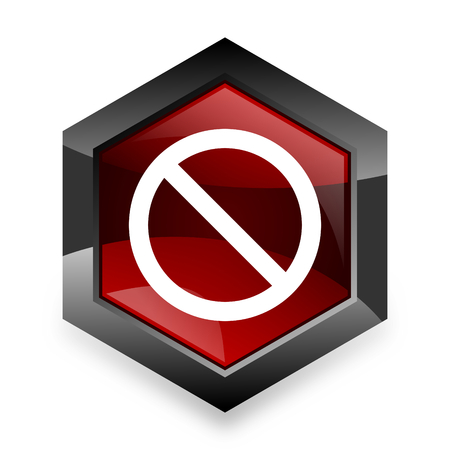 entrance is forbidden: access denied red hexagon 3d modern design icon on white background
