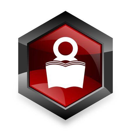 book red hexagon 3d modern design icon on white background