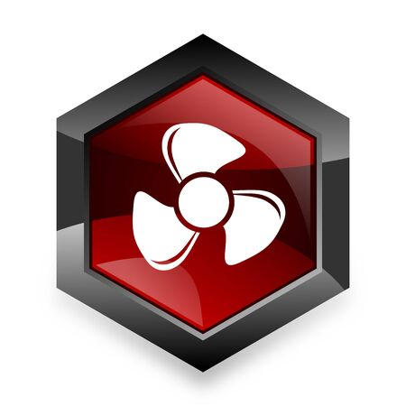 airflow: fan red hexagon 3d modern design icon on white background