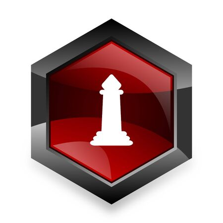 king master: chess red hexagon 3d modern design icon on white background