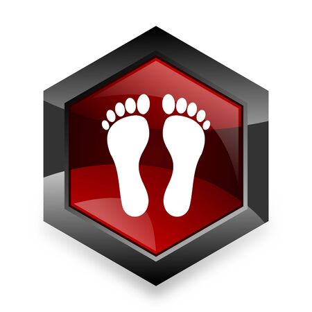 original ecological: foot red hexagon 3d modern design icon on white background
