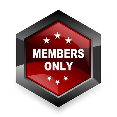members only: members only red hexagon 3d modern design icon on white background