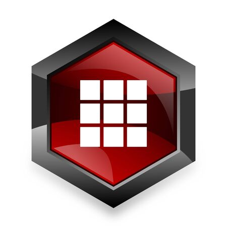 thumbnails: thumbnails grid red hexagon 3d modern design icon on white background
