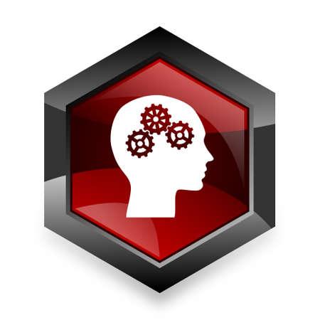 brainy: head red hexagon 3d modern design icon on white background Stock Photo