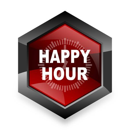 happy hour drink: happy hour red hexagon 3d modern design icon on white background