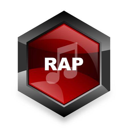 black rapper: rap music red hexagon 3d modern design icon on white background