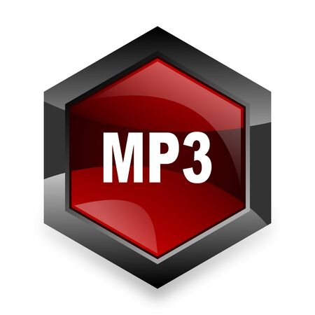 mp3: mp3 red hexagon 3d modern design icon on white background