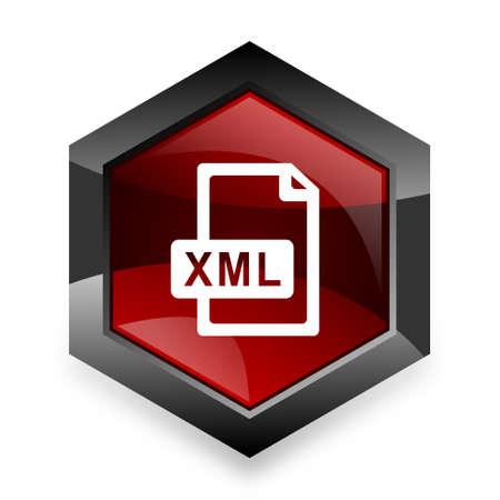 xml: xml file red hexagon 3d modern design icon on white background Stock Photo