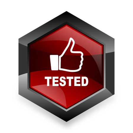 tested: tested red hexagon 3d modern design icon on white background