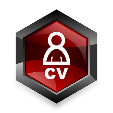 job descriptions: cv red hexagon 3d modern design icon on white background