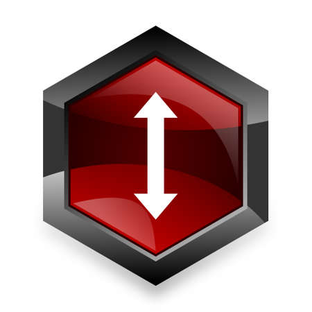 sterring: arrow red hexagon 3d modern design icon on white background Stock Photo