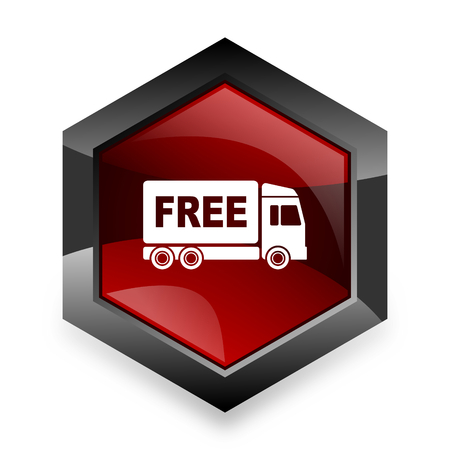 complimentary: free delivery red hexagon 3d modern design icon on white background Stock Photo