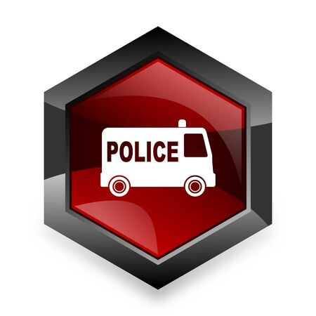 highway patrol: police red hexagon 3d modern design icon on white background