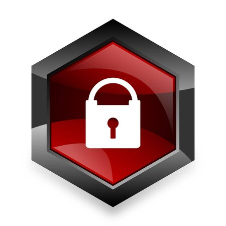 trusty: padlock red hexagon 3d modern design icon on white background