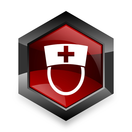 3d nurse: nurse red hexagon 3d modern design icon on white background