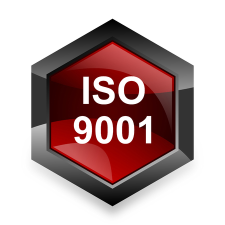 din: iso 9001 red hexagon 3d modern design icon on white background