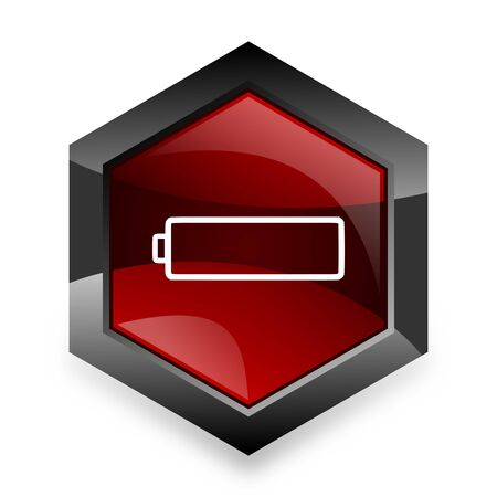 accuse: battery red hexagon 3d modern design icon on white background