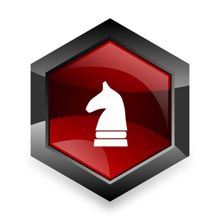 chess horse: chess horse red hexagon 3d modern design icon on white background
