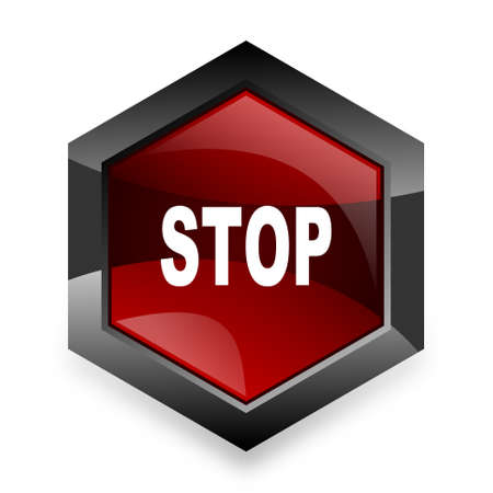 proscribed: stop red hexagon 3d modern design icon on white background