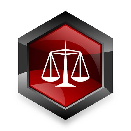 injustice: justice red hexagon 3d modern design icon on white background
