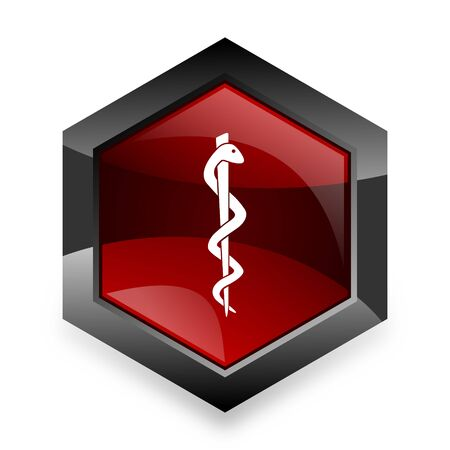 hospital icon: emergency red hexagon 3d modern design icon on white background Stock Photo
