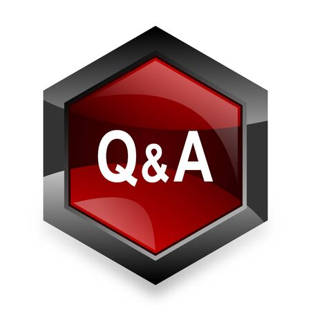 question and answer: question answer red hexagon 3d modern design icon on white background Stock Photo
