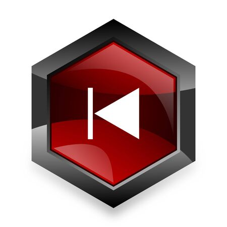 eject: prev red hexagon 3d modern design icon on white background