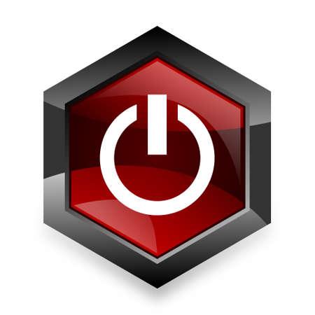 running off: power red hexagon 3d modern design icon on white background