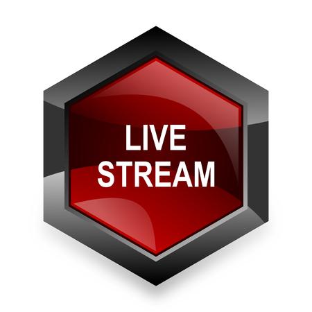 news cast: live stream red hexagon 3d modern design icon on white background