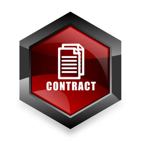 icom: contract red hexagon 3d modern design icon on white background Stock Photo