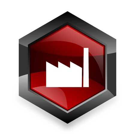 industrial complex: factory red hexagon 3d modern design icon on white background Stock Photo