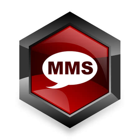 mms: mms red hexagon 3d modern design icon on white background
