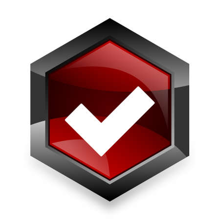 to accept: accept red hexagon 3d modern design icon on white background Stock Photo